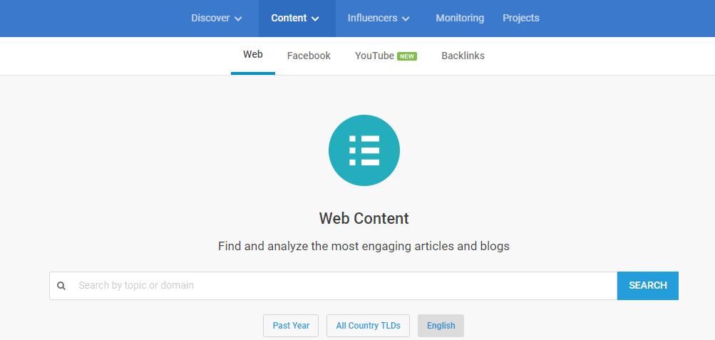 BuzzSumo Web Content analyzer search page