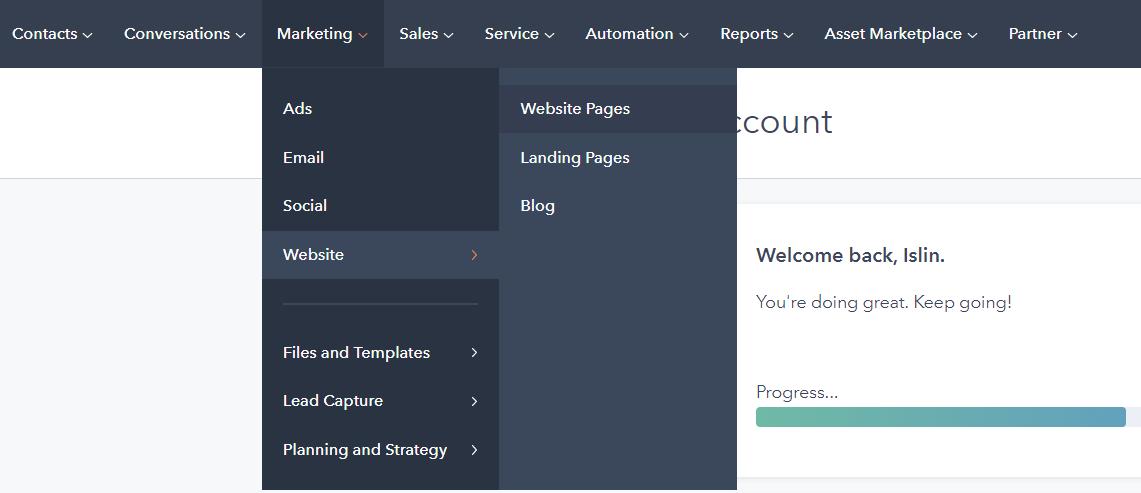 navigation to blog HubSpot CMS